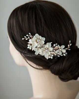 Cassandra Lynne Wedding Bride Flower Hair Clip Rose Gold With Crystals & Pearls
