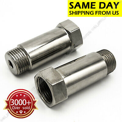 2*Straight O2 Oxygen Sensor Extension Extender Spacer Adapter 55mm For M18 x 1.5