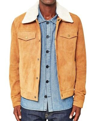 Men TRUCKER Tan Suede Classic Western Style Leather Jacket Removable collar