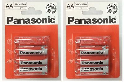 8 X Panasonic AA Battery Batteries New Zinc Carbon 1.5V Exp +2Years