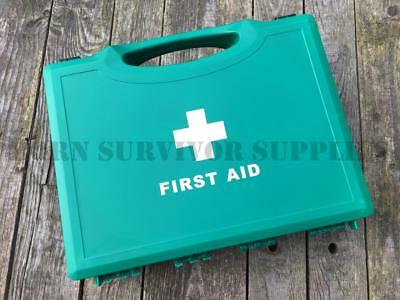 EMPTY FIRST AID KIT BOX LARGE - Green Compact Hard Carry Handle HSE Storage Case