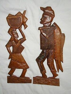 Vintage Hand Carved Wood Wall Plaque African ? Africana ?  Primative Folk Art