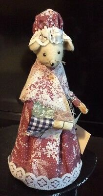 Handmade Vintage Mouse Collectible Figurine Fabric Mice 'The Quilt Maker'