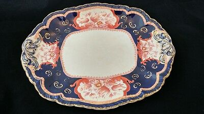 Antique Booths stone china Victoria pattern,cobalt blue&rust serving tray 13.5""