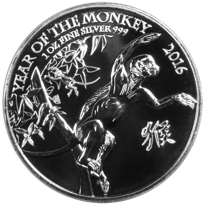 2016 U.K. 2 Pound Silver Year of the Monkey .999 1 oz Brilliant Uncirculated