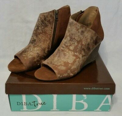 8d018040cc7 NIB Diba True In Sider Wedge Boot Tan Chestnut Leather Suede Women s Size 10