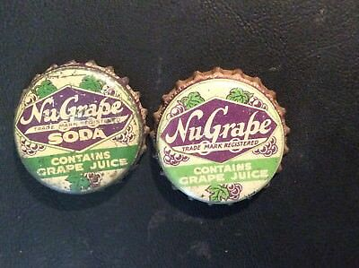 2 Different  Nu Grape   Soda  Bottle Caps  - used   - Cork  Lined