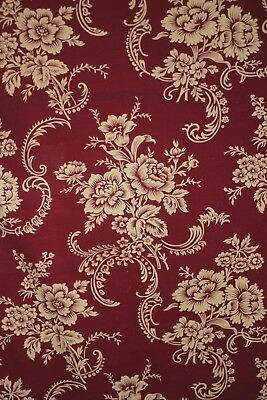 Antique French red fabric floral c 1900 cotton material