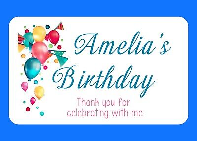 21  Glossy Personalised Birthday Celebration Party Bag Food Box  Stickers