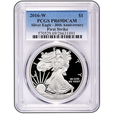2016-W Proof $1 American Silver Eagle PCGS PR69DCAM First Strike Blue