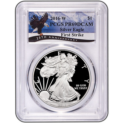 2016-W Proof $1 American Silver Eagle PCGS PR69DCAM First Strike Eagle Label