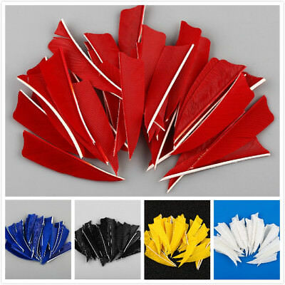 "50pcs 3"" Natural Handmade Turkey Arrow Feathers Hunting Arrow Fletching Vanes"