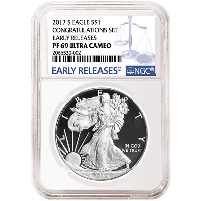 2017-S Proof $1 American Silver Eagle Congratulations Set NGC PF69UC Blue ER Lab