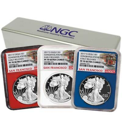 2017-S Proof $1 American Silver Eagle Congratulations Set NGC PF70UC 3pc Trolley