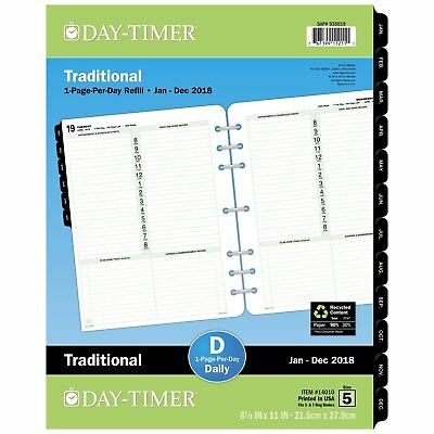 Day-Timer Refill 2018, One Page Per Day, January 2018 - December 2018, 8...