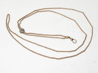 Antique H&H Gold filled Ladies Long Watch Chain Necklace w/ Seed Pearl Slider