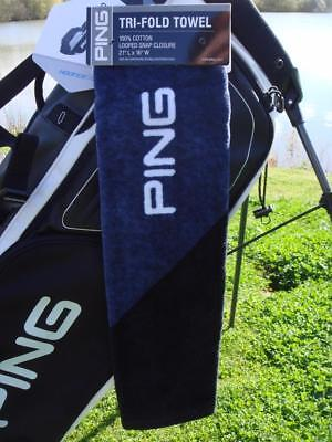 Ping Golf - TRI-FOLD TOWEL (Black/Navy) + FREE Ping Tour Tees