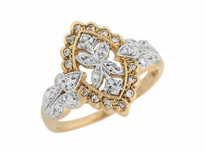 10k or 14k Two Tone Gold White CZ Antique Style Intricate Details Ladies Ring