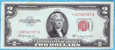 1953-C $2 Star Fr#1512* Two Dollar Bill Red Seal US Note Lot #6