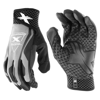 Extreme Work™ LocX-On™ Grip Gloves Gray With Touchscreen Technology SIzes M-2XL