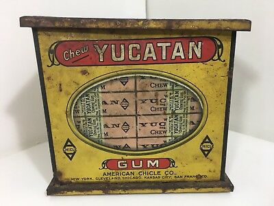 Vintage Yucatan Chewing Gum Tin Box Counter Store Display Advertising Rusted Lid