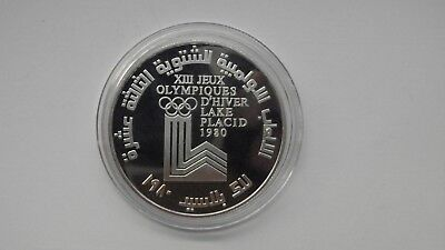 1980 Lebanon10 Livres Winter Olympics Silver Proof Coin