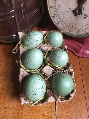 6 Speckled Eggs In A Carton Primitive Spring Summer Cupboard Farmhouse Tuck