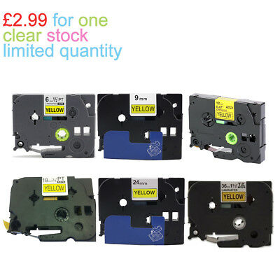 COMPATIBLE LABEL TAPE FOR BROTHER 6-36mm P-Touch H101C PT-H101C Black On Yellow