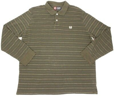 352768fd68a Chaps Men's Long Sleeve Polo Shirt Casual Vtg Rugby Green Striped Size Xl