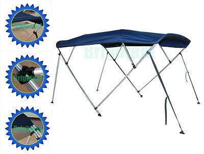 """Bimini Top 79""""-84"""" Free Clips 4 Bow Boat Canopy Cover 8 ft Support Poles GB4N1"""