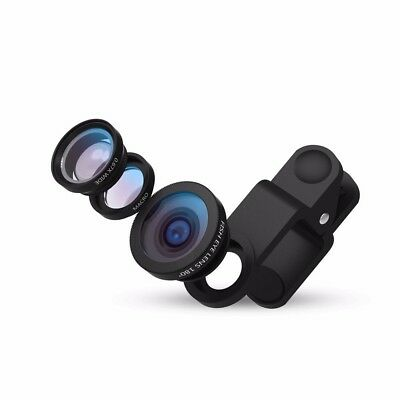 New 3 In 1 Mobile Phone Fish Eye + Wide Angle + Macro Camera kit Lens Universal