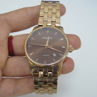 d04a47b0f 38mm Parnis Coffee Dial Miyota Automatic Men's Mechanical Watch Sapphire  Crystal