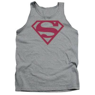 Superman CRIMSON & GRAY SHIELD Licensed Adult Tank Top All Sizes