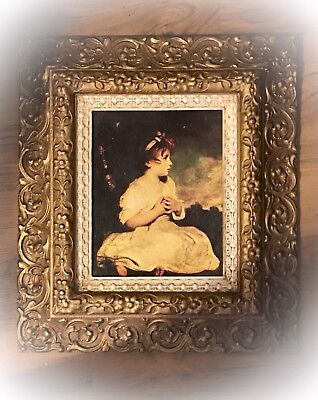 """Vintage Home Interiors """"Age Of Innocence"""" Gold FRAMED 16 X 18 PICTURE Is 7 X 9"""