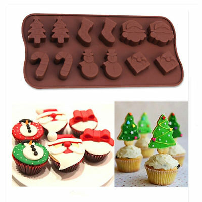 Hot Silicone Christmas Tree Snowman Cake Mold Tray Chocolate Candy Ice Mould YT