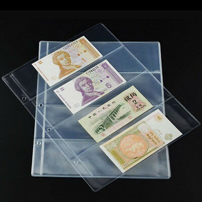 1 Sheet Album Page 4 Pockets Money Bill Note Currency Holder Storage Collection