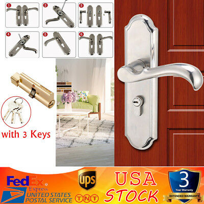 TopQuality Keyed Privacy Door Security Entry Mortise Lever Lock Set SATIN NICKEL