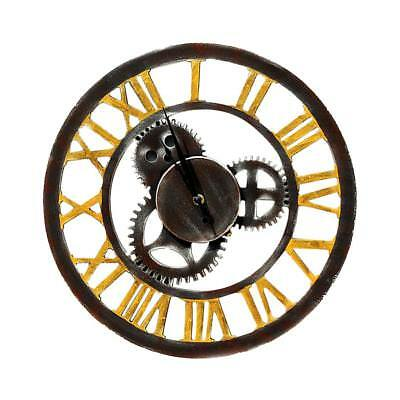 Battery Operated Antique Wooden Wood Gear Wall Clock Large Decor Clock Craft