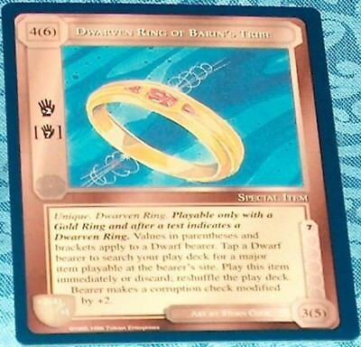 MECCG CCG Middle-earth Dwarven Ring of Barin/'s Tribe The Lidless Eye LE MINT