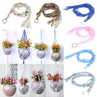 Vintage Knitted Rope Garden Flower Pot Macrame Plant Hanger Legs Hanging Baskets
