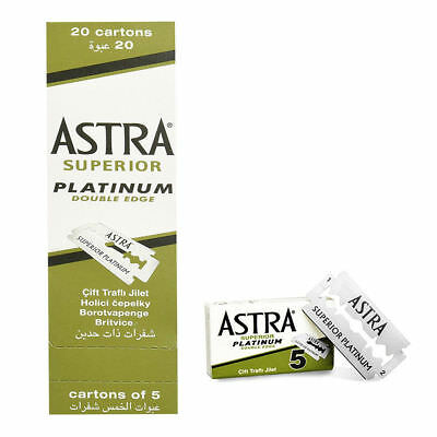 100 Astra Superior Platinum Double Edge Safety Razor Blades.