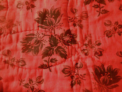 Antique French Floral Boutis Quilt Piece Fragment ~ Persimmon Red Black