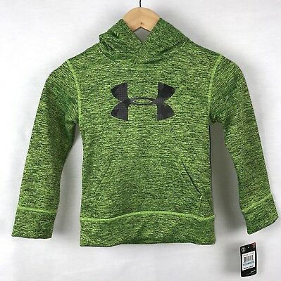 Boys Under Armour Pullover Hoodie Youth Size 4 Green Black NWT
