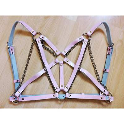 Pink Faux Leather With Silver Chain Ring Detail Bra Body Harness Cage Festival