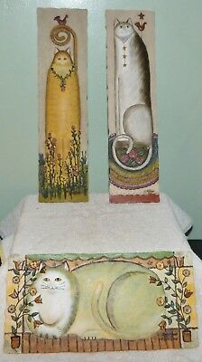 Set 3 E Smithson 3D Tall & Fat Cat Wall Plaques Signed Buttercup Resin Blend