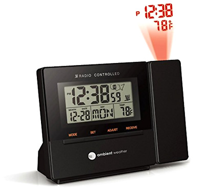Ambient Weather RC-8427 Radio Controlled Projection Alarm Clock with Indoor Tem