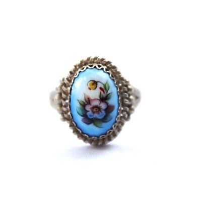 Russia Rostov enamel finift enamel filigree Ring German silver #284