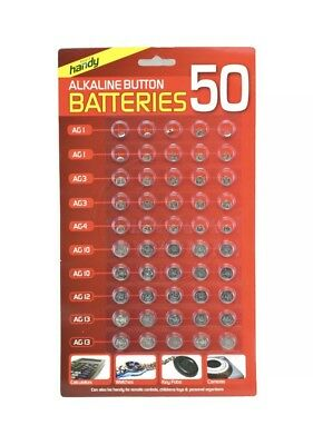 Original 50 Assorted Button Cell Watch Batteries AG 1 AG3 AG4 AG10 AG12 AG13