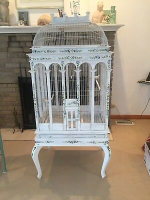 Huge Bird Cage,Shabby Chic,French Country Handpainted,Hand Wired,Antique Vintage