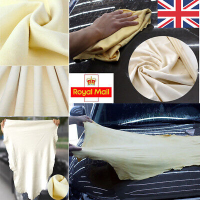 Large Natural Chamois Leather Car Cleaning Cloth Wash Absorbent Drying Towel UK